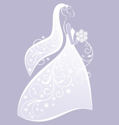 Bride in white wedding dress vector