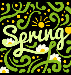 brush lettering spring on black background with vector image