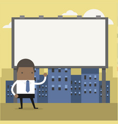 businessman standing in front a large billboard vector image