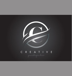 C letter logo design with circle steel swoosh vector