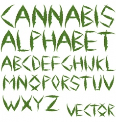 Cannabis leafs alphabet vector