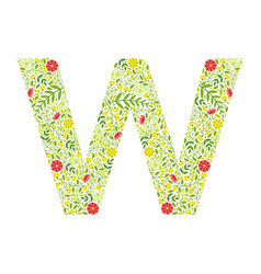 capital letter w green floral alphabet element vector image