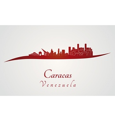 Caracas skyline in red vector