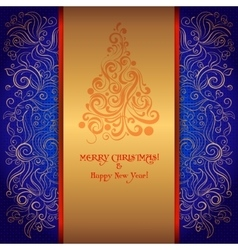 Card with a Christmas tree vector image