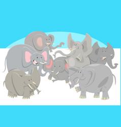 Cartoon elephants animal characters group vector