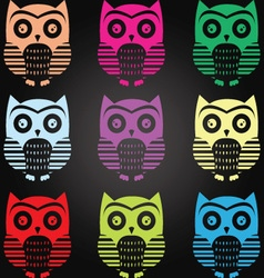 Chalkboard owl collection vector