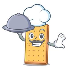Chef with food graham cookies mascot cartoon vector