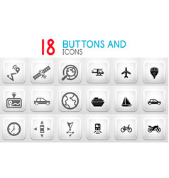 collection of grey internet push button with icons vector image