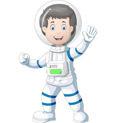Cool astronaut in white blue suit uniform cartoon vector