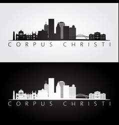 corpus christi usa skyline and landmarks vector image