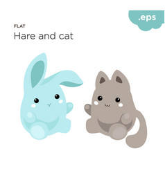 Cute animals hare and cat flat vector