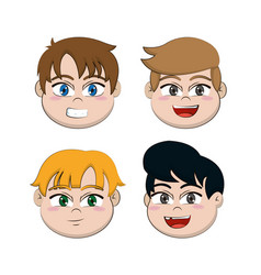 cute boy faces cartoons vector image