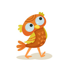 cute owlet walking sweet orange owl bird cartoon vector image