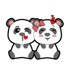 Cute pandas lovely emojis kawaii vector