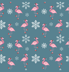 Cute pink flamingo new year and christmas vector