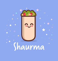 Cute shaurma burrito cartoon comic character with vector