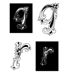 Decorative letters Q and R in floral style vector