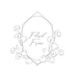 Delicate floristic geometric frame cotton vector