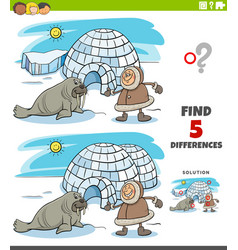 Differences educational task for kids with eskimo vector