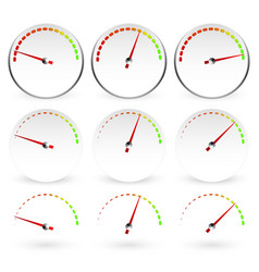 different dials with red needles vector image