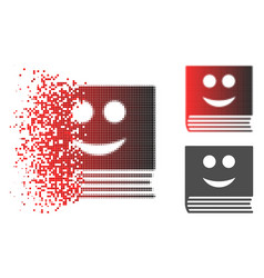 Disintegrating dotted halftone happy book icon vector