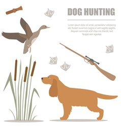 Dog hunting Flat style vector image