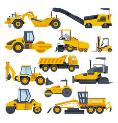 Excavator road construction digger or vector
