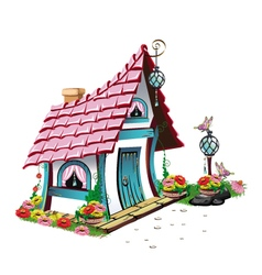 fairytale house with pink roof vector image