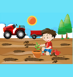 Farm scene with boy planting in the field vector