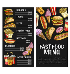 Fast food menu poster fastfood restaurant vector