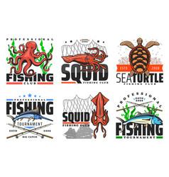 Fishing club fish and underwater animals vector