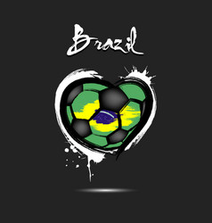 Flag of brazil in the form of a heart vector