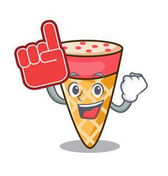 Foam finger ice cream tone mascot cartoon vector