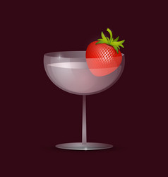 fresh strawberry in transparent glass fresh drink vector image