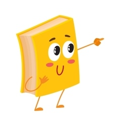 Funny book character pointing to something with vector image