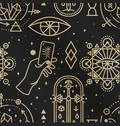 Gold esoteric seamless pattern background vector