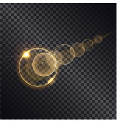 golden lght effect of circle growing round spheres vector image