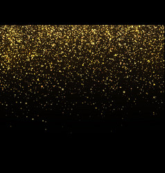 Golden rain isolated on black background vector