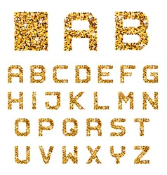 Golden sparkles alphabet font letters vector