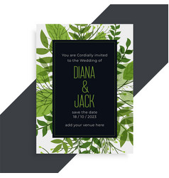 green leaves nature style wedding card design vector image