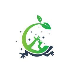 green lizard logo design vector image