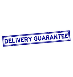 grunge blue delivery guarantee word square rubber vector image