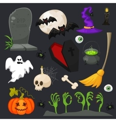 Halloween fashion flat icons isolated on vector