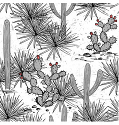 Hand drawn set with saguaro blue agave and and vector