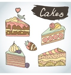 Hand drawn sweet cakes set Bakery elements vector image