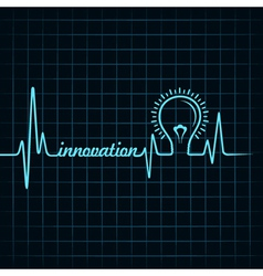 Heartbeat make innovation word and light-bulb vector