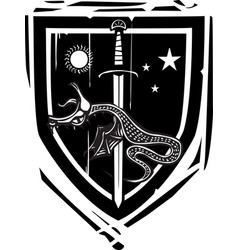 Heraldic shield dragon slaying vector