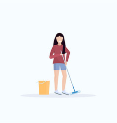 housewife mopping floor smiling woman cleaner vector image