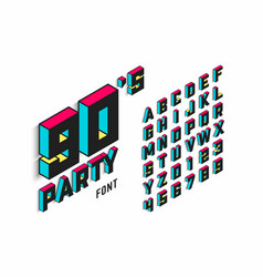 Isometric 3d font back to 90s alphabet vector