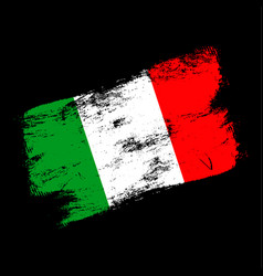 italy flag grunge brush background old brush flag vector image